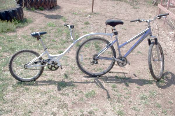 Mountain bike with hitchhiker - $1 (Alane TX.)