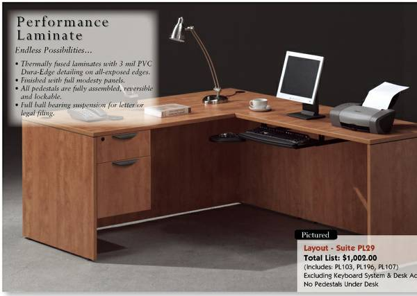 OFFICE FURNITURE - NEW Assembled Commercial L-Shaped Desks - 4 Colors  - $385 (Carrollton - Office Furniture Connection)