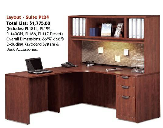 NEW Assembled Computer Corner L-Shaped Desk Hutch w Designer Fabric - $650 (Carrollton - Office Furniture Connection)