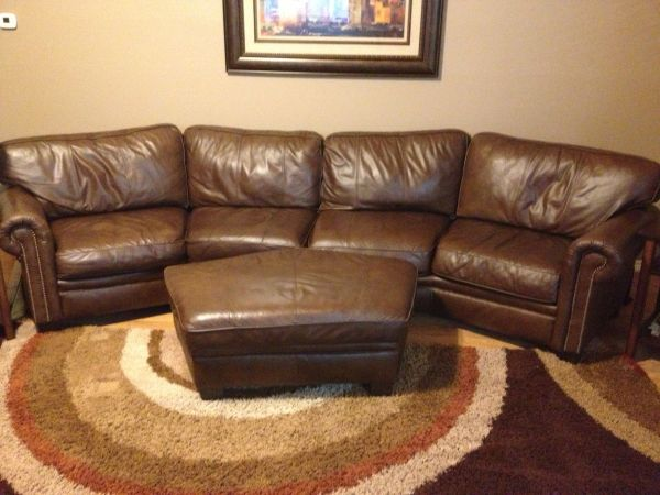 Bernhardt leather conversation couch - $1000 (Brownwood )