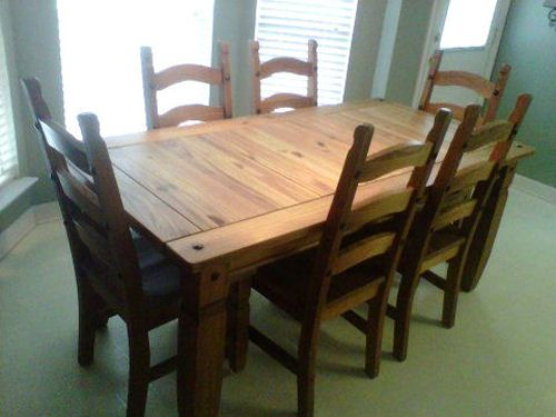 Beautiful Pier 1 Imports Solid Pine Rustic Dining Table 6 Chairs - $1200 (ABILENE)