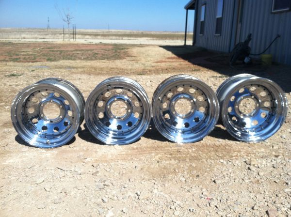 4- 15x8 6 lug chrome wheels - $200 (Haskell, TX)