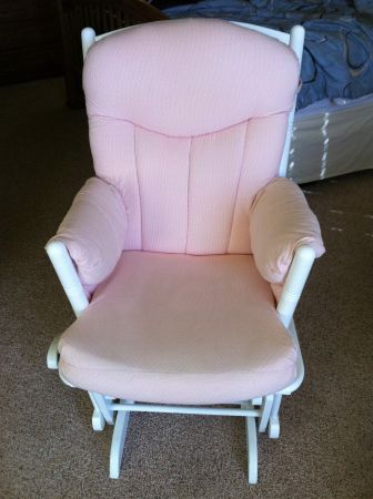 Shermag Glider and Ottoman Set in Pink Gingham and White  - $150 (Abilene, TX )