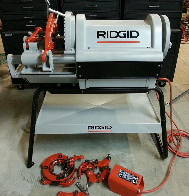 Ridgid 1224 threader with 3 die heads foot pedal and cart