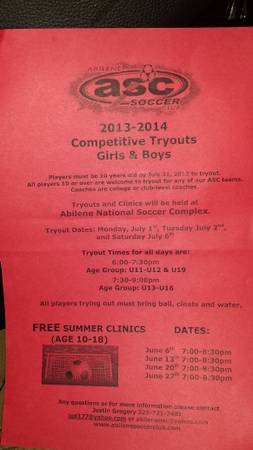 7 1-7 6  ASC SOCCER COMPETITIVE  TRY OUTS  Abilene  Tx