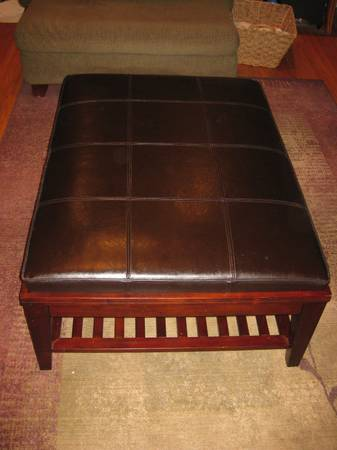 Z Gallerie Leather Ottoman - $200 (Southdowns Baton Rouge)