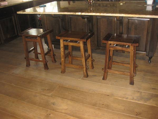 Wooden Saddle Style Bar Stools - Set of 3 - $50 (Central)