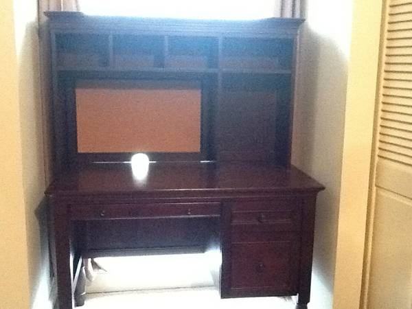 Pecan stained wooden desk and shelf unit. Bought from Pottery Barn - $400