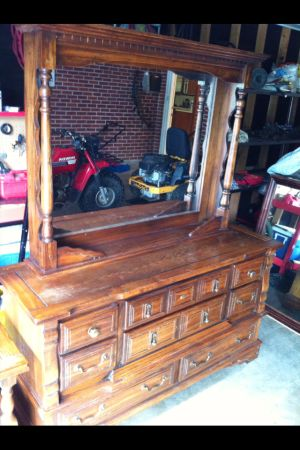 Solid Oak Dresser, night stand and mirror - $175 (Baton Rouge)