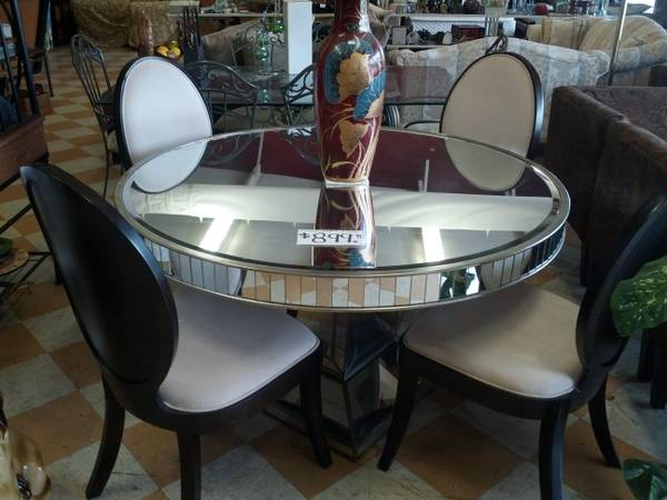 Z Gallerie mirrored dining table four chairs - $899 (Hammond )