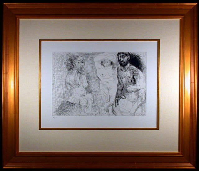 Original Etching by Pablo Picasso Two Bearded Men and Woman