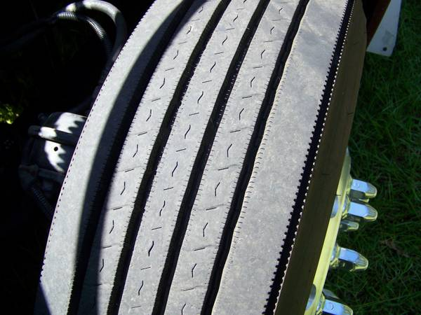 Semi-Truck Steer Tires Polished Aluminum Rims - $1000 (Mounted on truck)