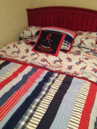 Bed  Mattress   amp  Spider Man Bedding by Pottery Barn -   x0024 225  Gonzales