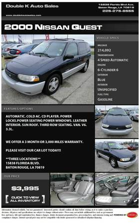 2000 NISSAN QUEST - $3995 (DOUBLE K AUTO SALES )