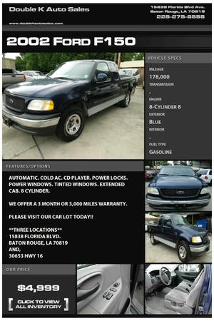 2002 FORD F150 EXTENDED CAB - $4999 (DOUBLE K AUTO SALES )