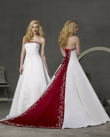 Alfred Angelo Size 02 Red and White Wedding Dress - $150 (Baton Rouge)