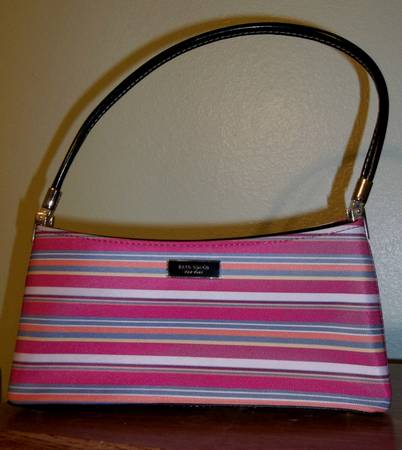 Adorable little KATE SPADE Pink Striped Purse - $25 (S. Baton Rouge)