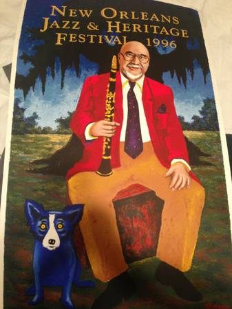 1996 JAZZ FEST POSTER BLUE DOG GEORGE RODRIGUE GREAT CONDITION LOOK -   x0024 600