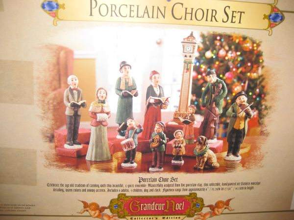 Collectors porcelain Grandeur Noel -Santa Sleigh or Carolers Set - $45 (Central)