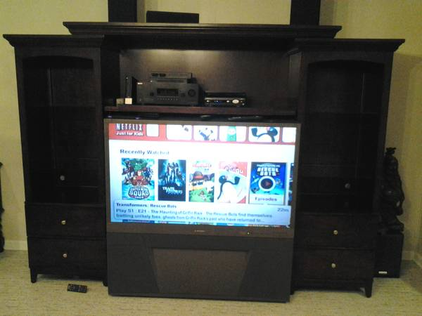 55 Mitsubishi with Mahognay Entertainment Center - $350 (Baton Rouge)