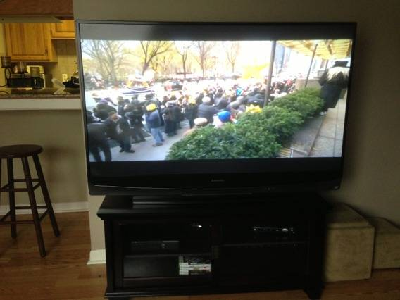 60 Mitsubishi HDtv and entertainment center (LSU)