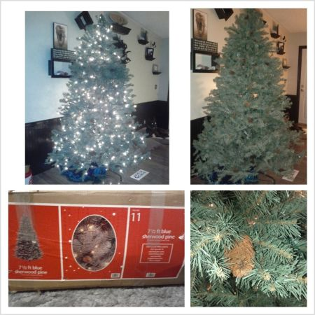 7 12 ft. Pre-lit artificial Christmas tree with pinecones - $45 (Tickfaw, LA)