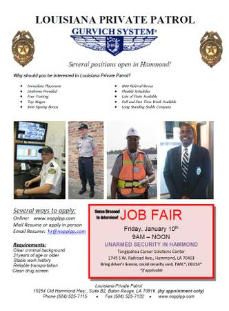 Security Job Fair FRIDAY       Hammond