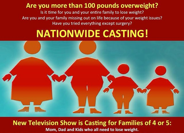 New life-changing show seeking OVERWEIGHT FAMILIES
