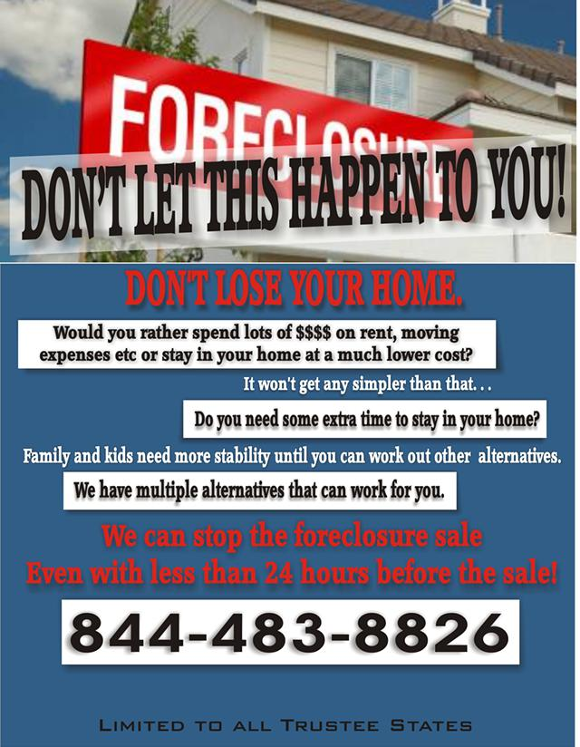 Foreclosure Sale We can Stop it