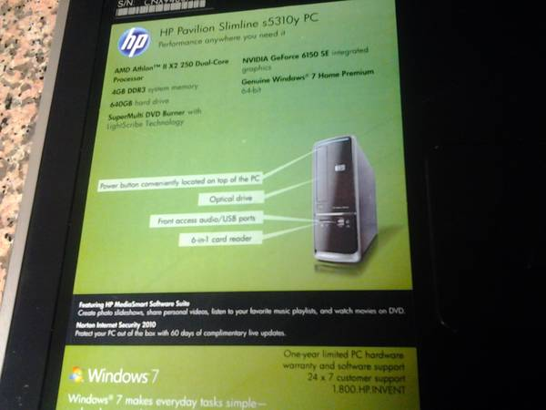 HP Pavilion Slimline s5310y PC -   x0024 300  beaumont