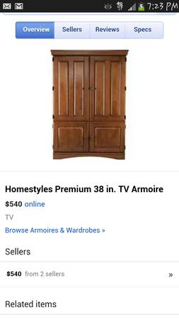 38 inch Wood TV Armoire stand, for sale or trade - $450 (beaumont)