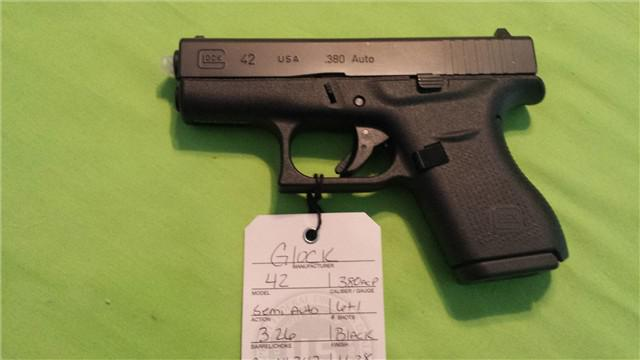 350  GLOCK  G42  380 SEMI AUTO PISTOL  text us at 405 437-4892
