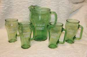 Vintage RARE Cowboy WHATABURGER Coke Coca-Cola Pitcher 4 Glasses - $55 (WoodlandsSpringGreenspoint)