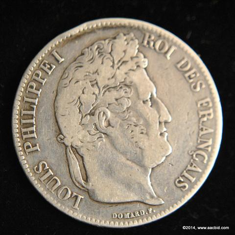 1838A France Silver 5 Francs Coin Louis Phillippe