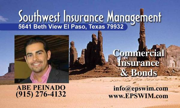-  1   1ft sup2  - Helping the SOUTHWEST with Every and All Insurance  Bonds and GL Needs  Southwest texas