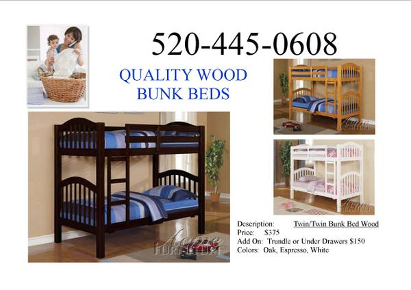 TWIN FULL BUNK BED WITH FREE UNDERDRAWERS -  395  ORDER BY PHONE