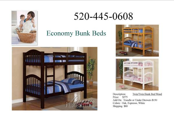 PICK YOUR FINISH-  NEW T F BUNK BEDS SHIPPED DIRECTLY TO YOU  -  395  ORDER BY PHONE