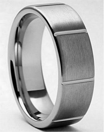 Tungsten Carbide 4MM Beveled Brush Finish Wedding Band Ring -  62  Southwest Tx