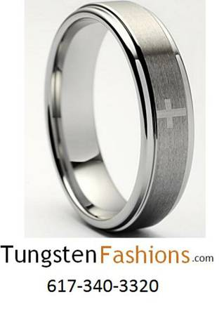 Tungsten Carbide 7MM Diamond Cut Chevron Wedding Band Ring -  46  Southwest Tx