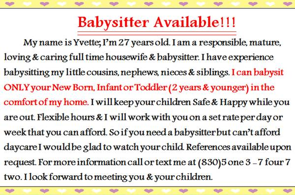 Babysitter Available     Eagle Pass  TX  78852