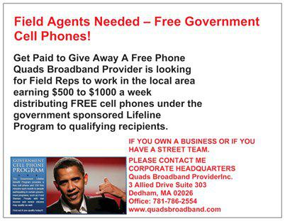 Field Agents Needed  Free Government Cell Phones