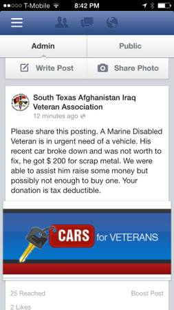 Vehicle for a disabled Veteran  South Texas