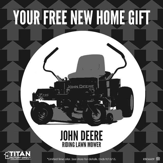 FREE John Deere Zero Turn Lawnmower with Purchase