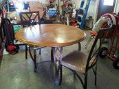Wood, round, dining table 2 chairs - $175 (brownsville tx)