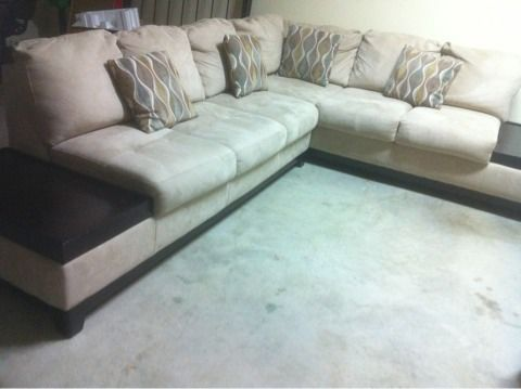 REDUCEDSectional Sofas beige suede and espresso wood - $750 (Brownsville)