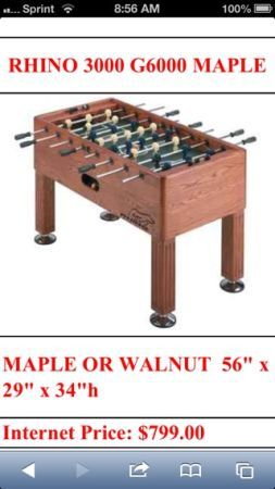 Rhino 3000 G6000 Foosball Table - $600 (Brownsville)