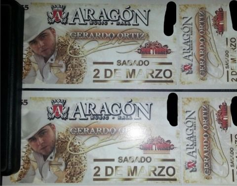 (2) Gerardo Ortiz Aragon Music Hall 3213 - $140 (Brownsville)