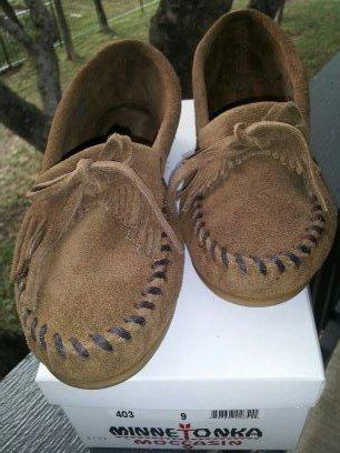 38  Pair of Suede Moccasins Woman