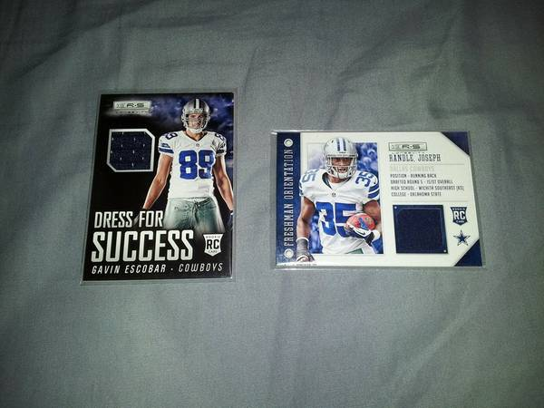2 Dallas Cowboys Jersey Cards   Piece of Jersey they have worn -   x0024 15  harlingen