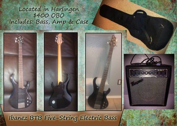 Bundle Deal Five string Bass, Amp Case - $400 (Harlingen)